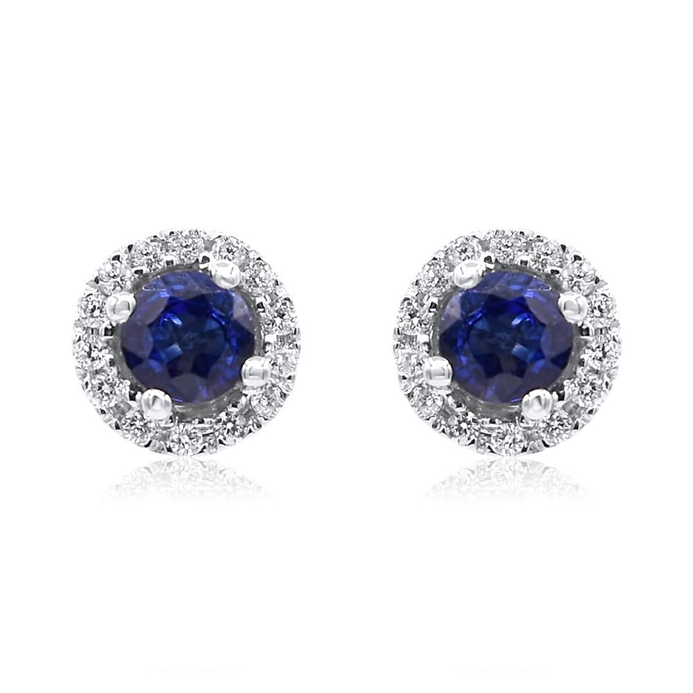 Sapphire Round Stones With White Diamond Halo