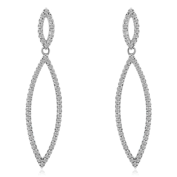 Long Diamond Drop  Earrings-White Gold
