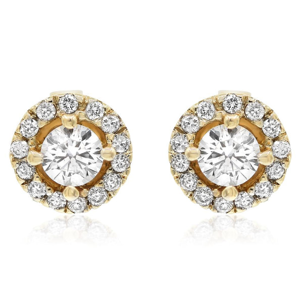 Yellow Gold Round Halo Studs -.20 Center