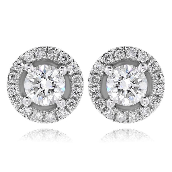 White Gold Round Halo Studs-.32 Center
