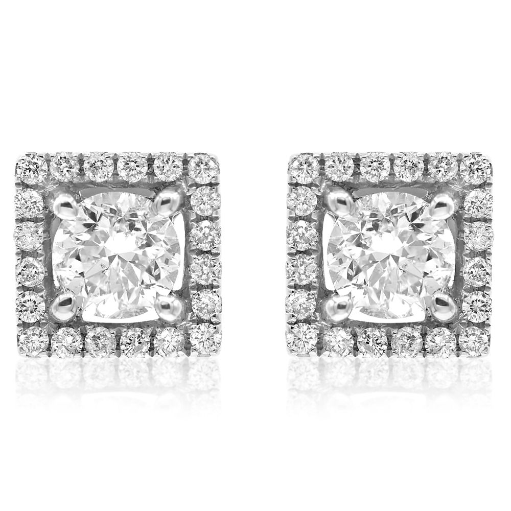 White Gold Square Halo Earring .25Center