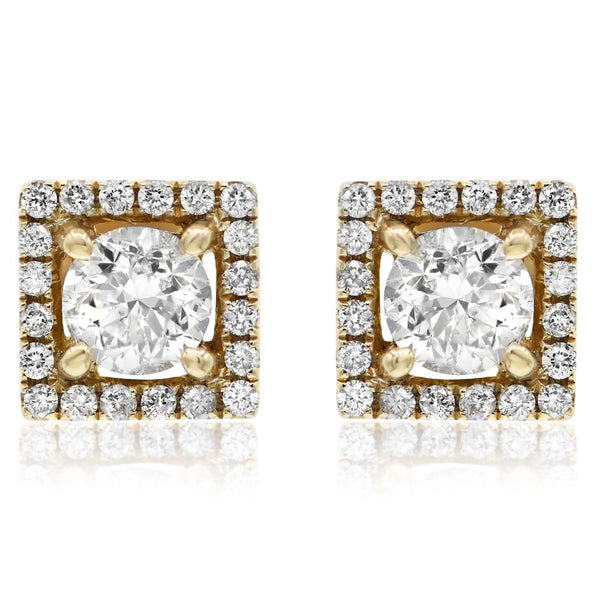 Yellow Gold Square Halo Earring .21 Center