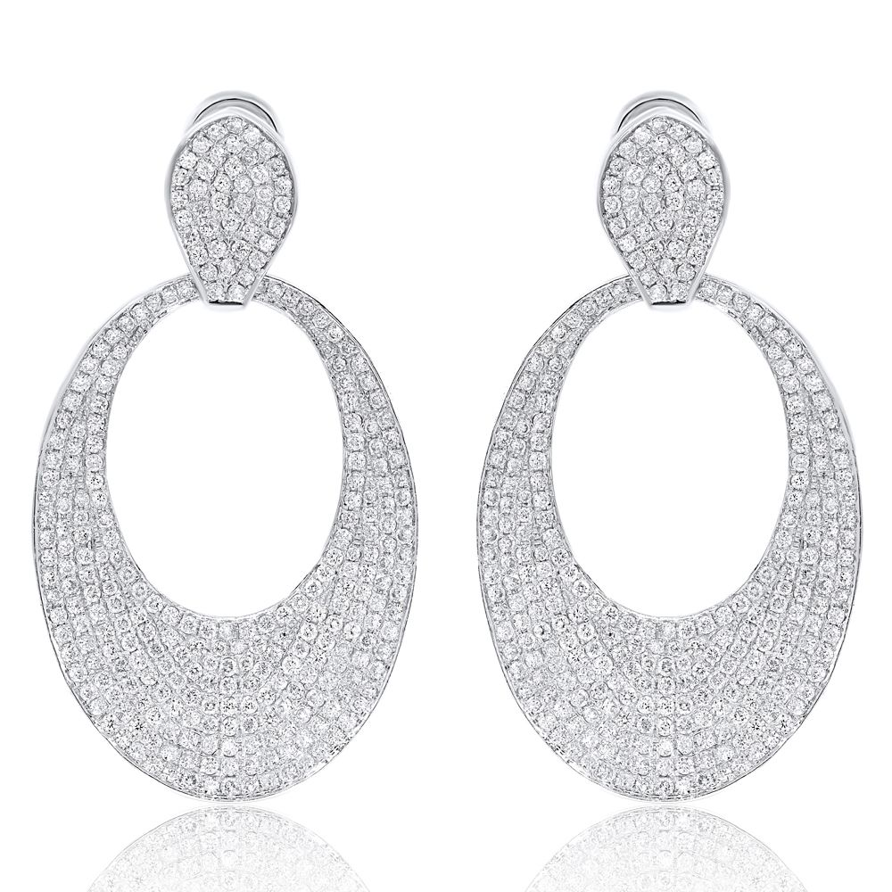 Pave Diamond Oval Drop Hoop