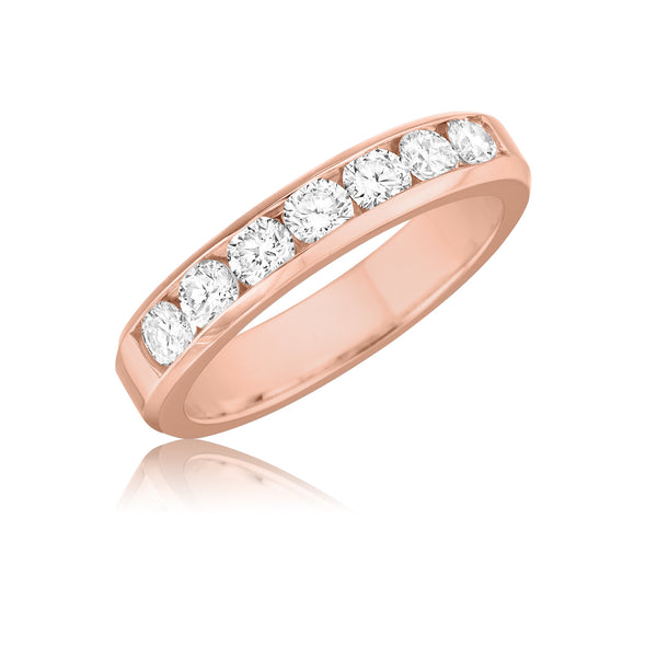 7 Stone Channel Set Round Diamond Wedding Band