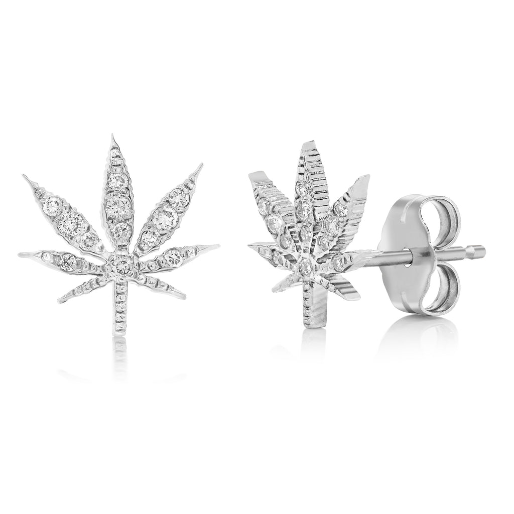Gold Cannabis Flower Diamond Stud Earrings
