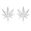 Gold Cannabis Flower Stud Earrings