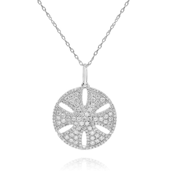 Silver Dollar Sand Disc with Pave Diamonds