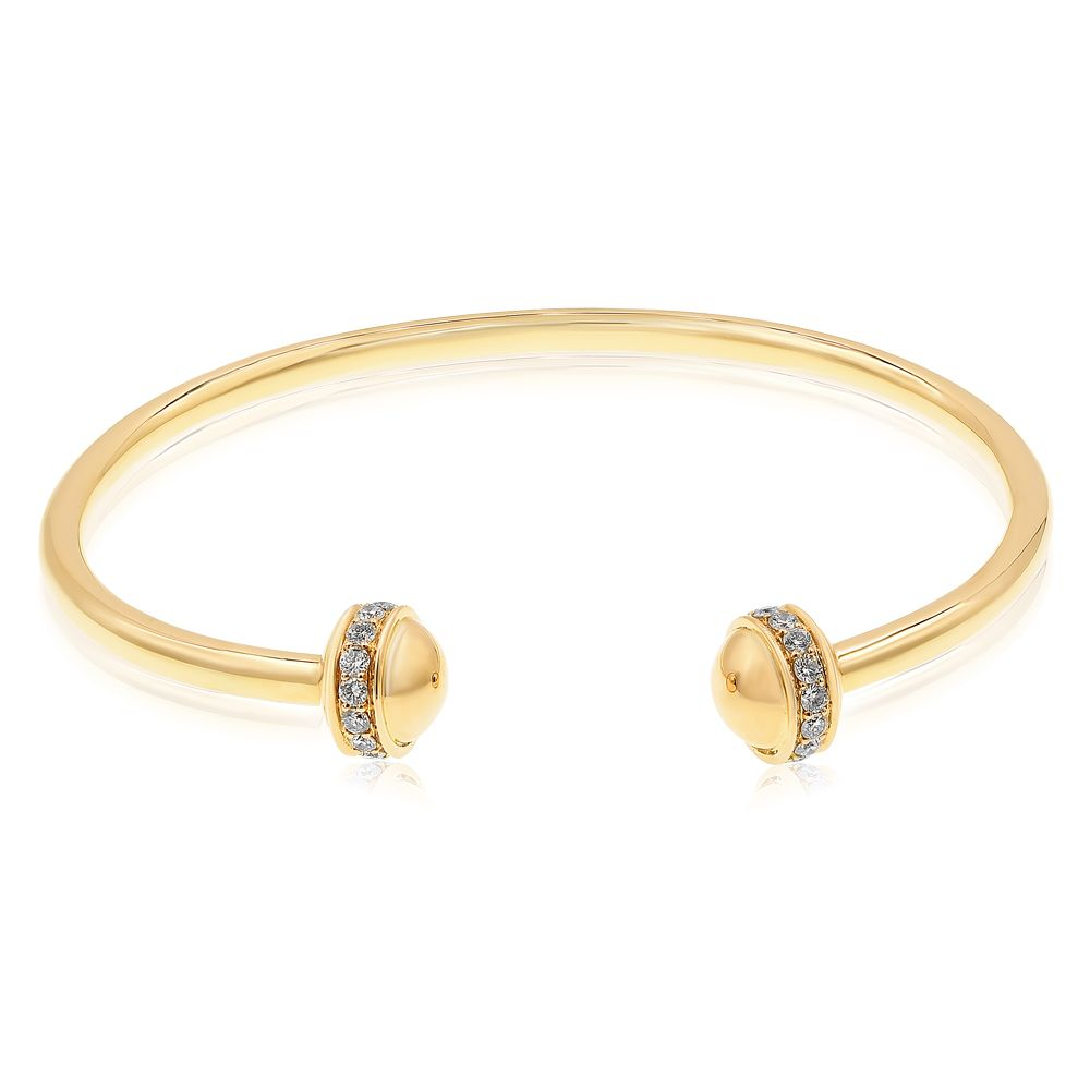 Yellow Gold Wire Bangle With Diamond Tips