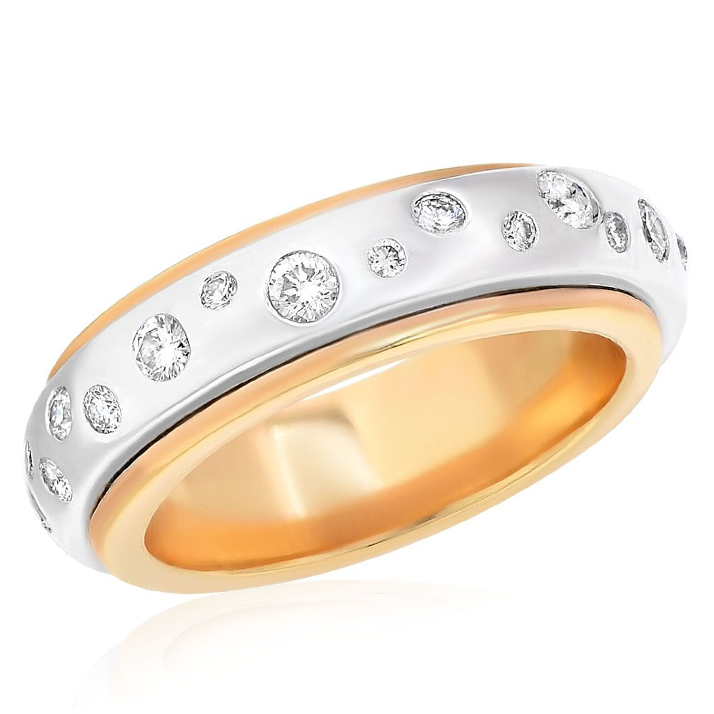 Double Band Yellow and White Gold With Burnished Diamonds