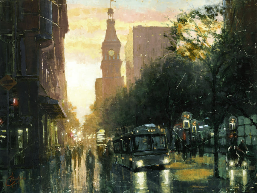 "Original ""16th St Mall, Denver"" 24""x32"" Oil on Wood by Christopher Clark"
