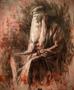 """Dumbledore"" Original 17""x14"" charcoal & ink sketch by Christopher Clark"