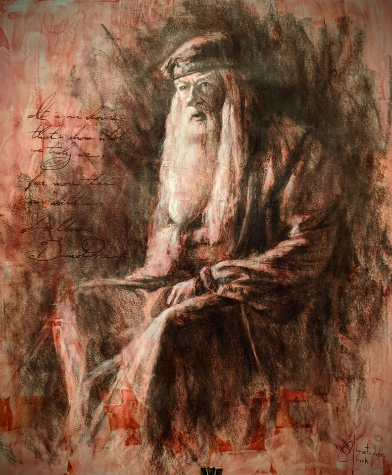 "SOLD - Dumbledore Original 17""x14"" charcoal & ink sketch by Christopher Clark"