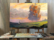 "Load image into Gallery viewer, ""Howl's Moving Castle"" Original 20""x30"" Oil on Wood Panel by Christopher Clark"