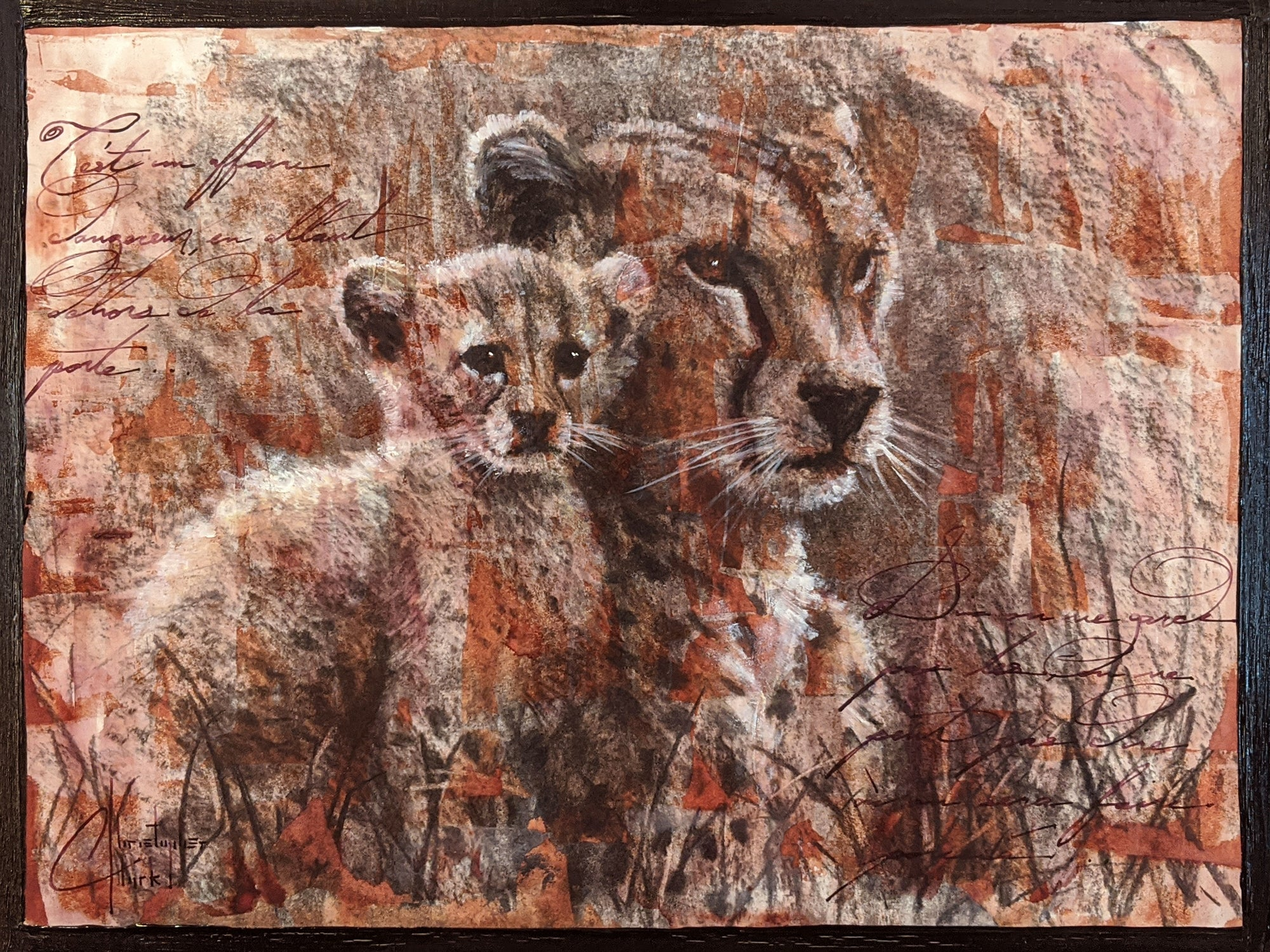 "Original ""Cheetahs"" Sketch 9""x12"" charcoal, ink & watercolor on paper by Christopher Clark"