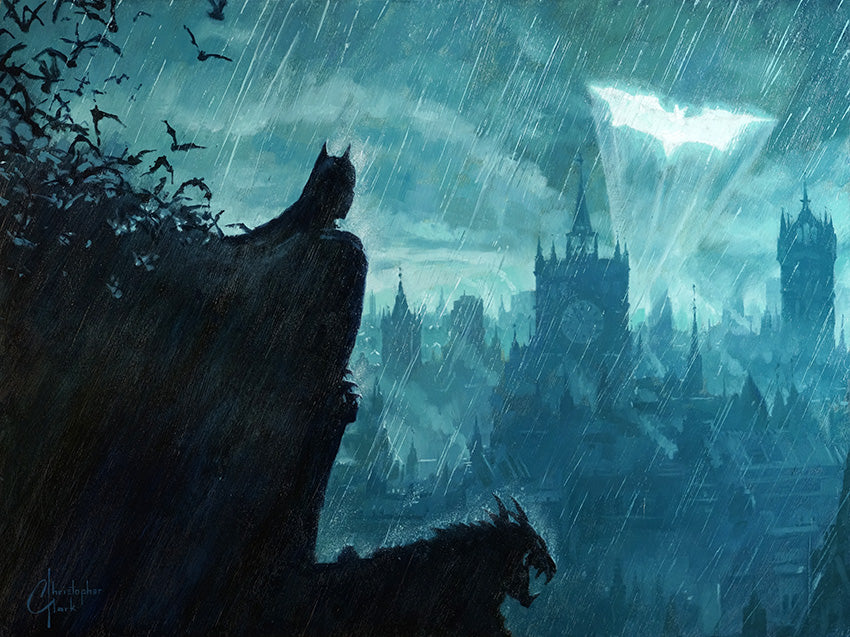 "Original ""Batman, I am the Night"" 24""x32"" Oil on Wood Panel by Christopher Clark"