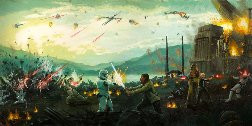 Attack on Takodana Limited Edition canvas by Christopher Clark