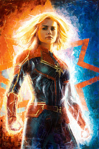 """Captain Marvel"" by Christopher Clark PAPER & CANVAS AVAILABLE"