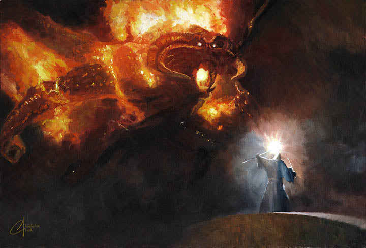 Gandalf & the Balrog by Christopher Clark