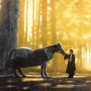"""Harry Meets Buckbeak"" Original 19""X19"" Oil on Wood Panel"
