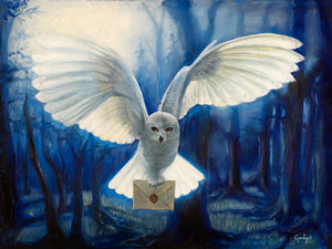 """Hedwig"" 18""x27"" original oil on wood panel by artist Gadget"