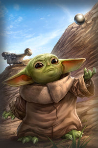 """Baby Yoda"" by Dominic Glover - PAPER & CANVAS AVAILABLE"