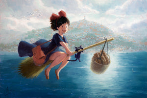 """Kiki's Delivery Service"" Original 18""x27"" Oil on Wood Panel by Christopher Clark"