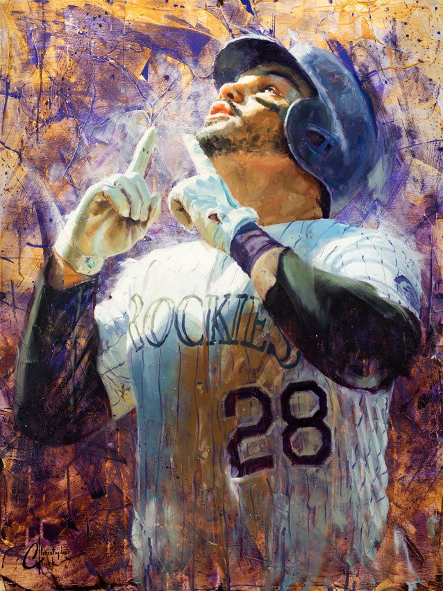 "Original ""Nolan Arenado"" Oil on Wood Panel 32""x24"" by Christopher Clark"