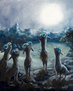 """Moon Calves"" by Artist Gadget Original Oil on Wood Panel"