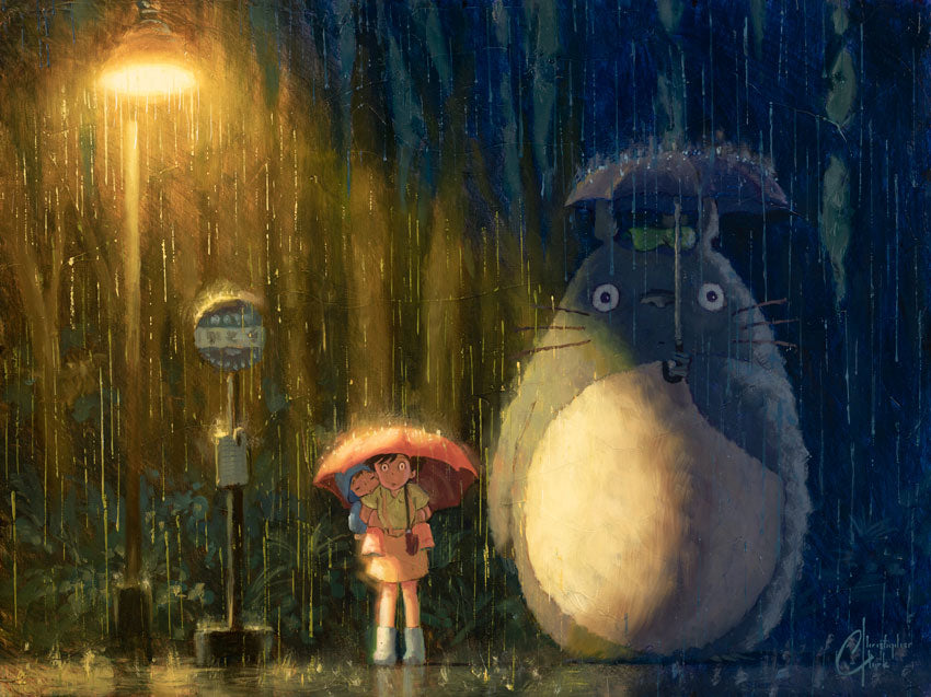 "SOLD: Original ""My Neighbor Totoro"" 18""x24"" Oil on Wood Panel by Christopher Clark"