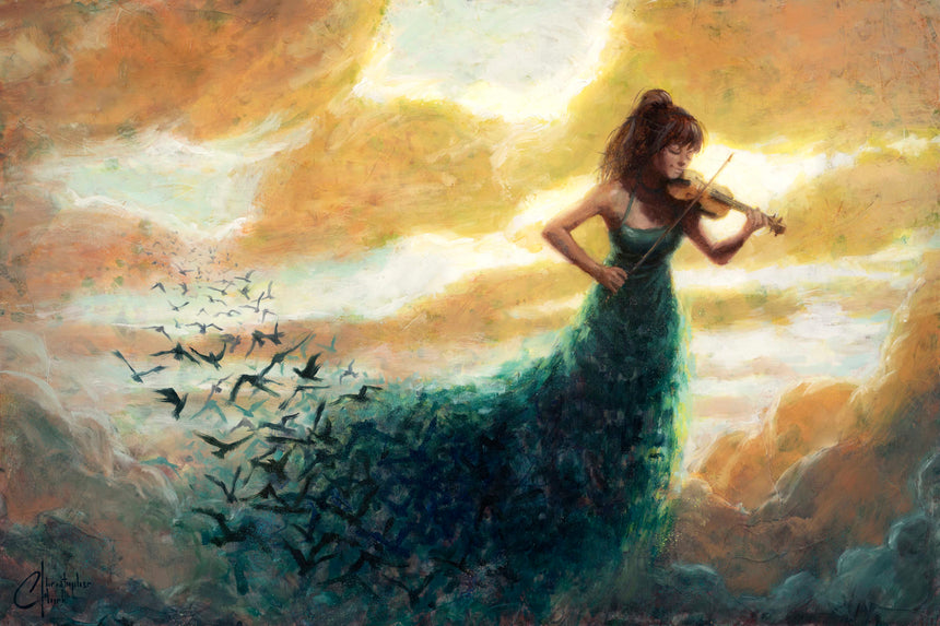 "Original ""One Final Melody"" Oil Painting 20""x30"" by Christopher Clark"