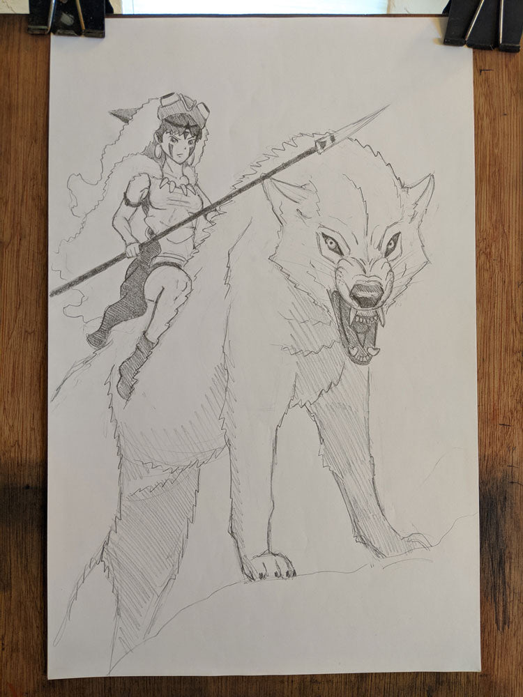 "Original ""Princess Mononoke"" 11""x17"" Charcoal Sketch by Christoper Clark"