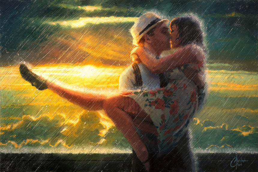 "Original ""Romance in the Rain"" 20""x30"" Painting by Christopher Clark"