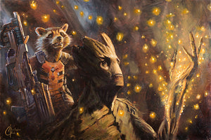 """Rocket & Groot II"" by Christopher Clark - PAPER & CANVAS AVAILABLE"