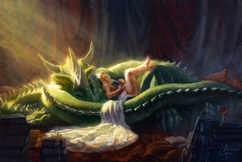 "Sleeping Dragon 20""x30"" Oil on Wood Panel by Christopher Clark"