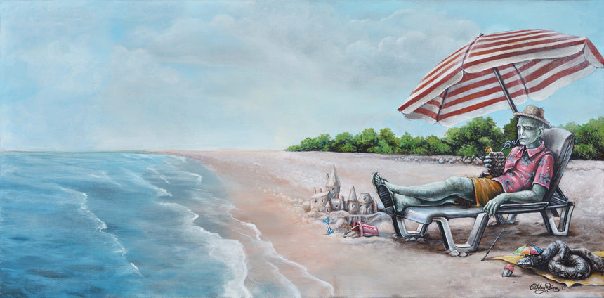 Voldemort's Day at the Beach Original Oil Painting by Ashley Raine