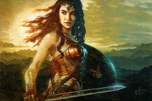 """Wonder Woman Horizon"" by Christopher Clark - PAPER & CANVAS AVAILABLE"