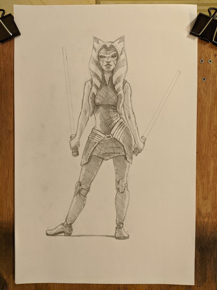 "SKETCH II: Ahsoka Tano 11""x17"" by Christopher Clark"