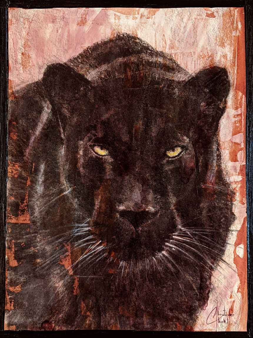 "SOLD - Original ""Black Panther"" charcoal, ink & watercolor on paper 12""x9"" by Christopher Clark"