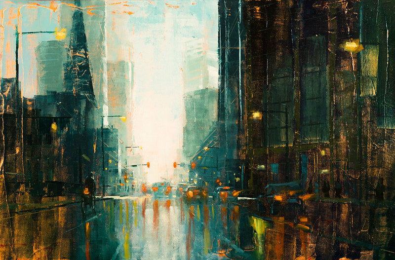 Denver Broadway in the Rain by Christopher Clark