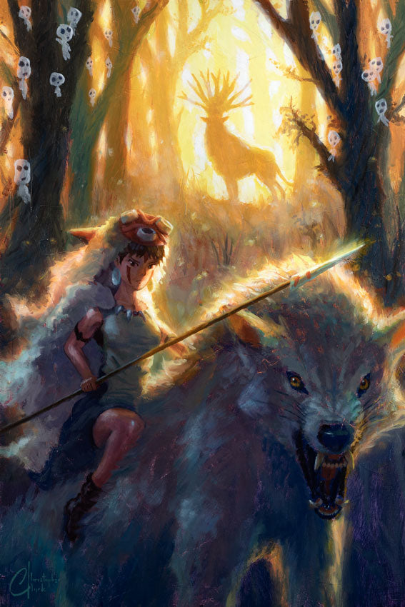 "Original ""Princess Mononoke"" 18""x27"" Oil on Wood Panel by Christoper Clark"