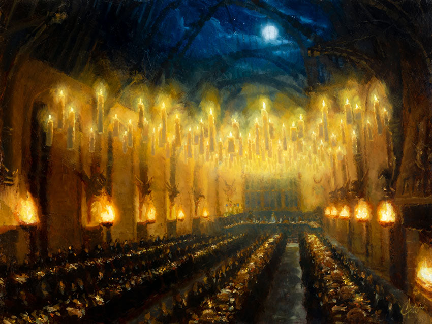 "SOLD - Original ""Great Hall""  Oil on Wood Panel 24""x32"" by Christopher Clark SOLD"