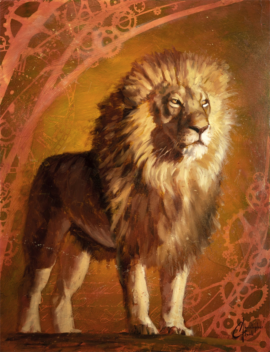"Original ""Lion King II"" 21.5""x16.5"" Oil on Wood by Christopher Clark"