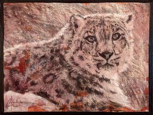 """Snow Leopard"" Original 9""x12"" Sketch by Christopher Clark"