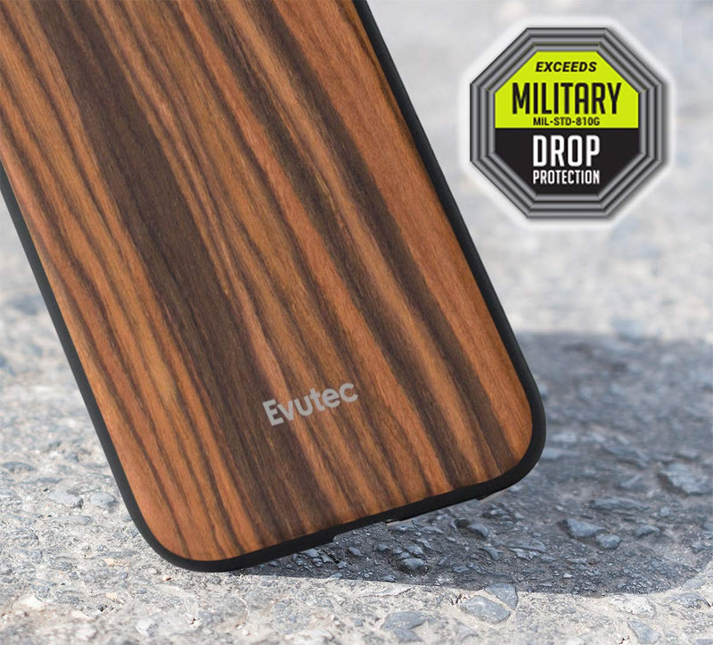 Evutec Burmese Rosewood Case with AFIX+ Magnetic Mount for iPhone XR