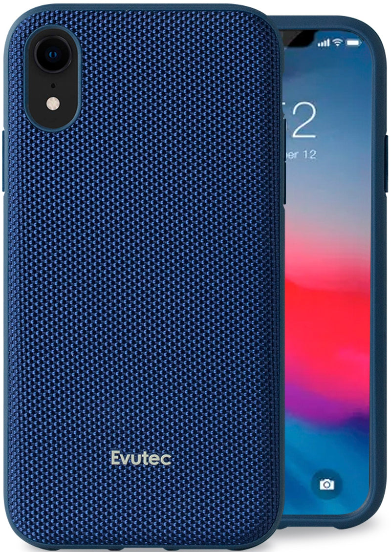 Evutec iPhone Xr Ballistic Nylon Blue Honeycomb Interior Drop Protection Case with Magnetic Vent Mount