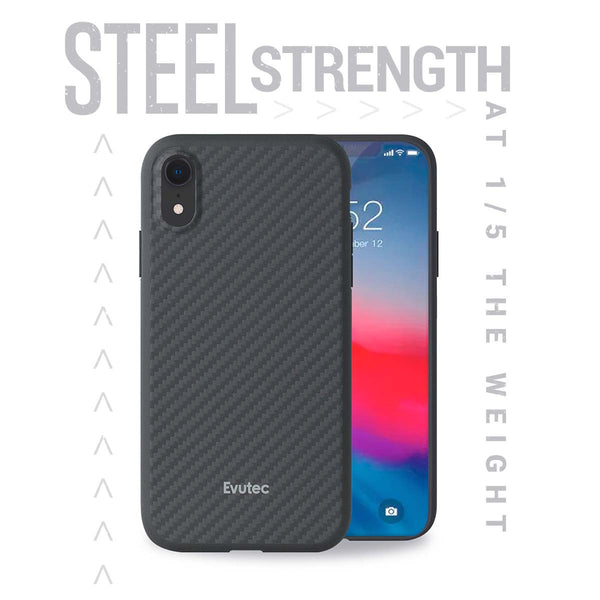 Evutec Karbon iPhone Xr Slim Light Smooth Real Aramid Fiber Protective Phone Case scratch resistant Durable Cover & Vent Mount