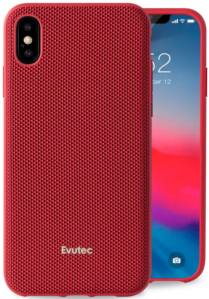 Evutec iPhone Xs Max Ballistic Nylon Red Honeycomb Interior Drop Protection Case with Magnetic Vent Mount