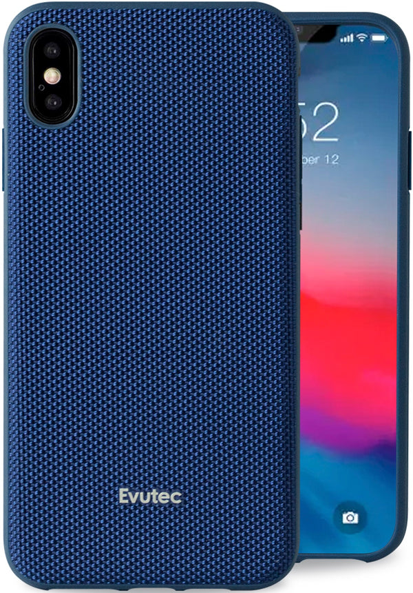 Evutec iPhone Xs Max Ballistic Nylon Blue Honeycomb Interior Drop Protection Case with Magnetic Vent Mount