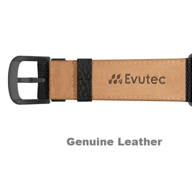 Evutec iWatch 42mm & 44mm Canvas Black Genuine Leather Premium Fabric Hand Stitched Watch Band Strap Series 4, Series 3, Series 2, Series1