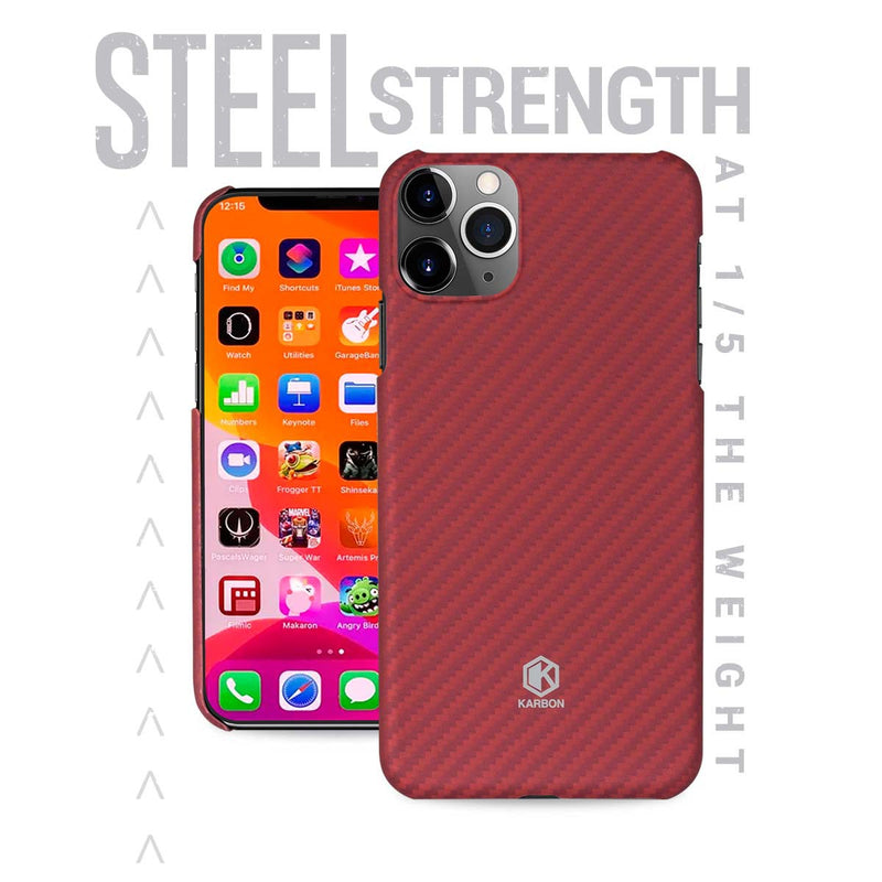 Karbon Value iPhone 11 Pro 5.8 inch, Thin 0.7mm Slim Light Smooth Real Aramid Fiber Protective Phone Case scratch resistant Durable  Cover - Red